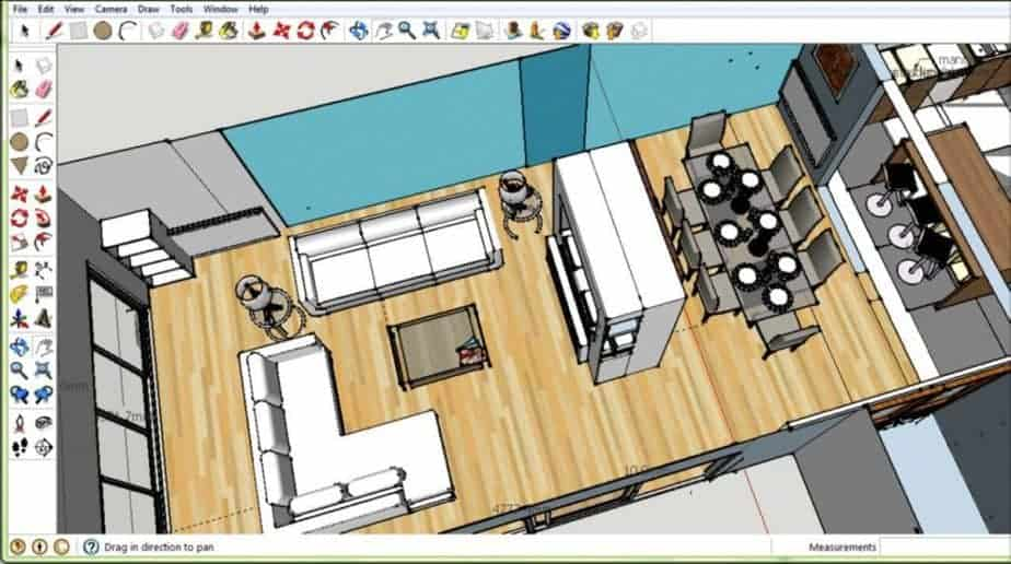 SketchUp Pro 3D modeling Interface